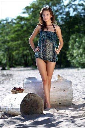 Красивая шатенка на пляжу