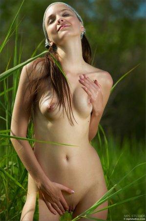 Красотка обнажается у поле