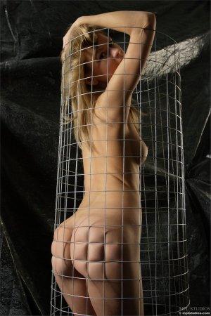 Голая блондинка в сетке