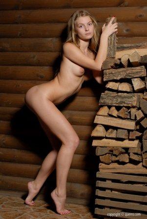Юная красотка стоит у дров