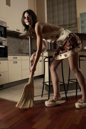 Красивая девка подметает на кухне
