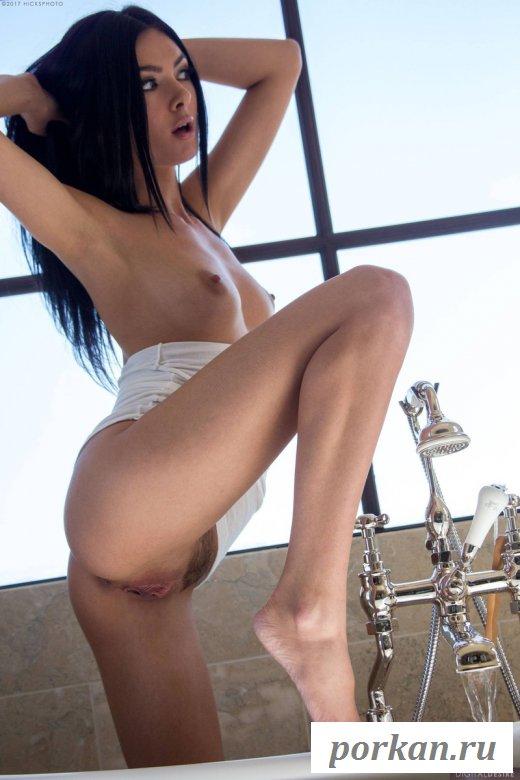 Сексуальная брюнетка позирует в ванной